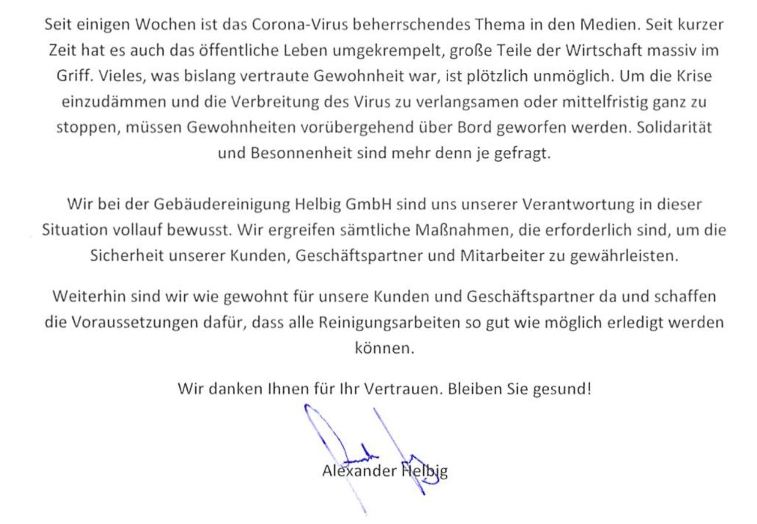 Corona Hinweis der Firma Helbig
